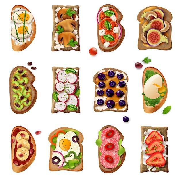 Мультфильм бутерброды набор Бесплатные векторы