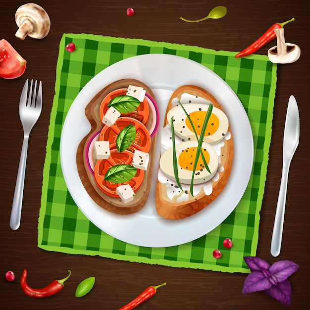 Sandwiches on plate rustic illustration Free Vector