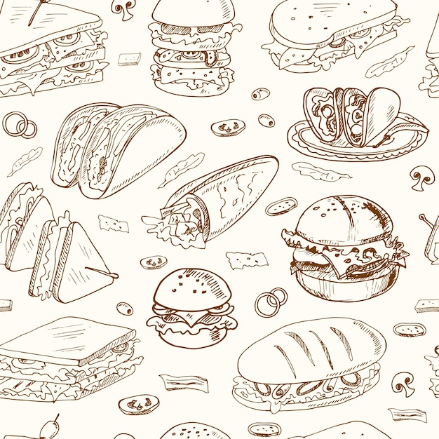Бутерброды бесшовные модели клубный сэндвич чизбургер гамбургер деликатес обертывание ролл тако багет рогалик тосты. Premium векторы