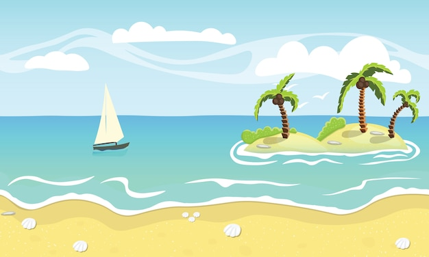 Sandy beach, palm trees and sea Premium Vector