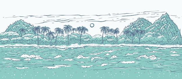 바다 파도 서핑과 야자수와 모래 열 대 섬. 프리미엄 벡터