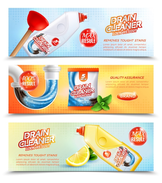 Sanitary cleaner horizontal banners Free Vector