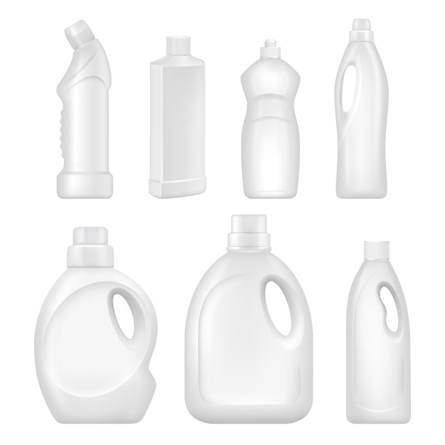 Sanitary containers with chemical liquids for cleaning services Premium Vector