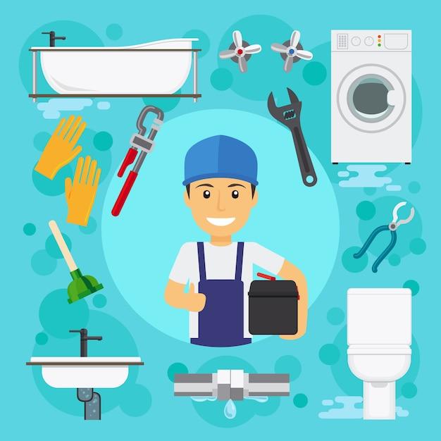 Sanitary engineering Premium Vector