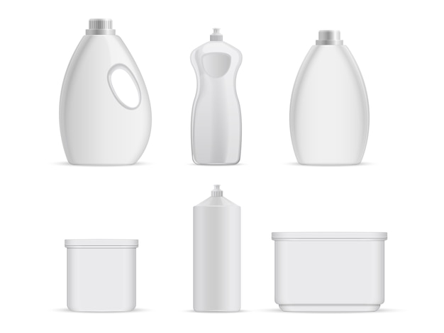 Sanitary plastic empty bottles with chemical liquids for cleaning services. Premium Vector