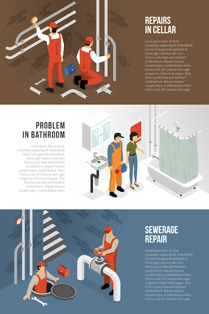 Sanitary technician banners collection Free Vector