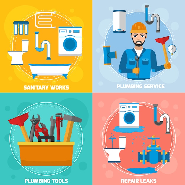 Sanitary technician design concept Free Vector