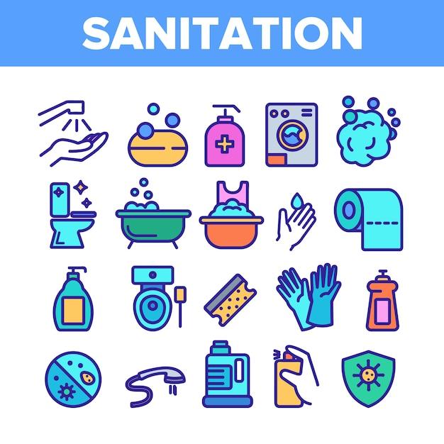Sanitation elements icons set Premium Vector