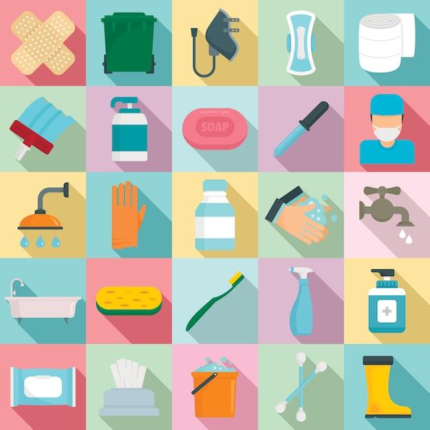 Набор элементов санитарии, плоский стиль Premium векторы