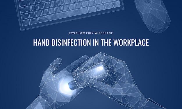Дезинфицирующее средство распыляет в руки. чистое рабочее место и концепция рук. Premium векторы