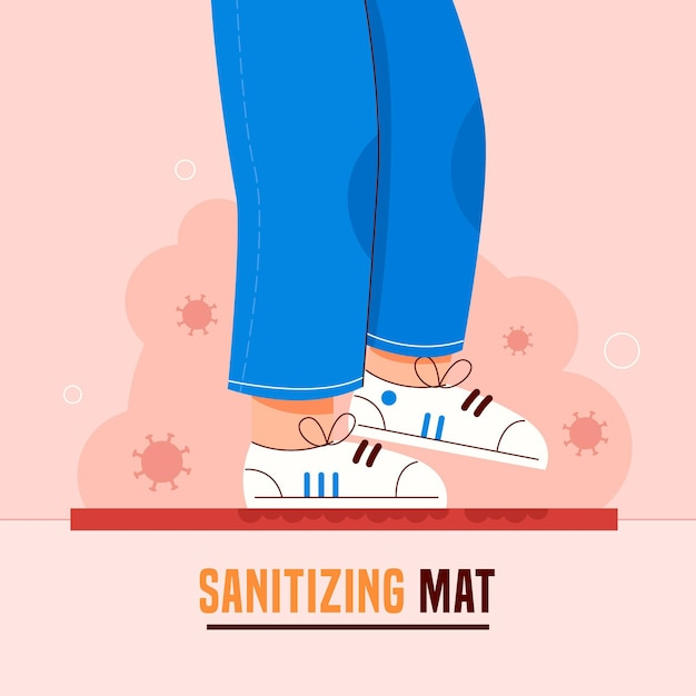 Sanitizing mat concept illustrated Free Vector
