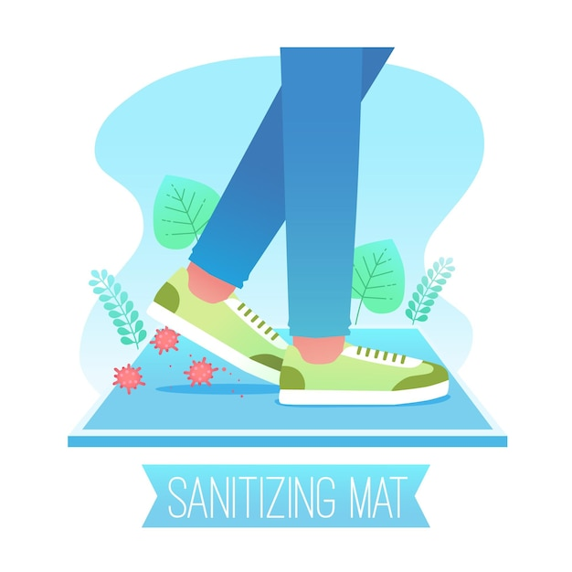 Sanitizing mat concept illustration Free Vector