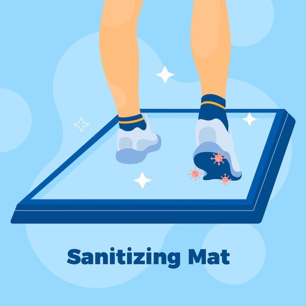 Sanitizing mat concept Premium Vector