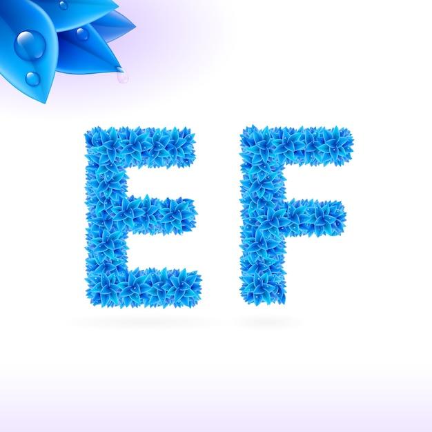 青い葉の装飾が施されたサンセリフフォント Premiumベクター