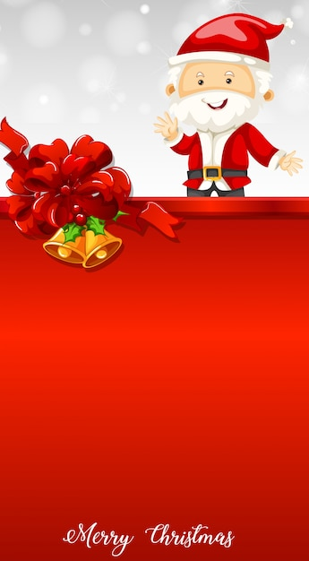 santa and bells on christmas card template free vector