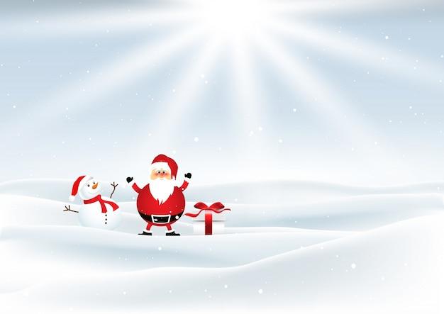 santa and snowman in snowy landscape free vector - Snowman Santa