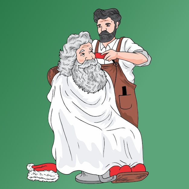 Santa barber Premium Vector
