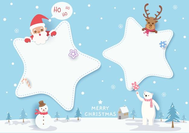 Иллюстрация с рождеством христовым дизайна с рамкой звезды, santa calus, северным оленем, полярным медведем, снеговиком на снежном. Premium векторы