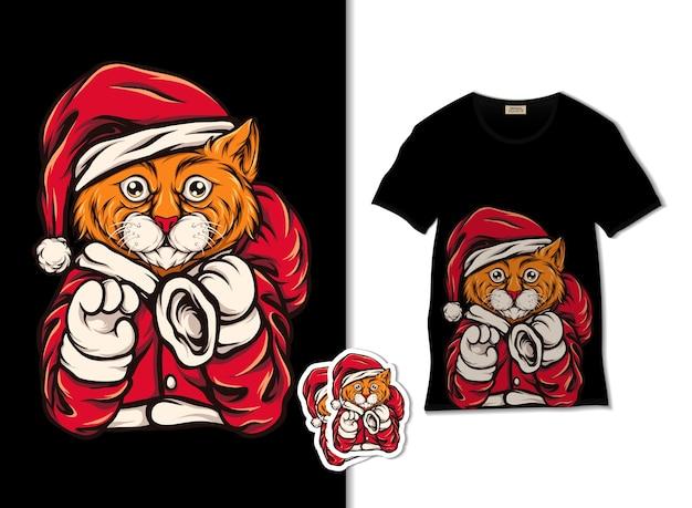 Tシャツのデザイン、手描きのサンタ猫のイラスト Premiumベクター