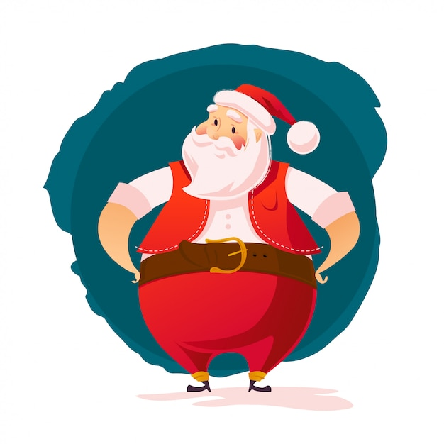 Santa character portrait  on white background. cartoon style. merry christmas, happy new year congratulation decoration  element. good for xmas congratulation card, . Premium Vector