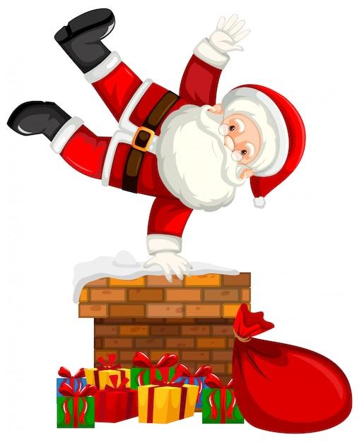 Santa on chimney scene Free Vector