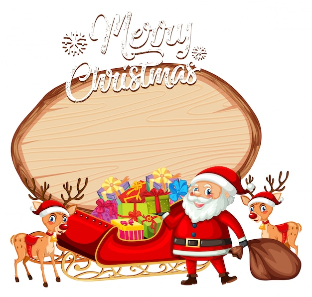 A santa on christmas banner Free Vector