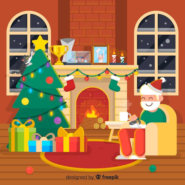 Santa christmas fireplace background Free Vector