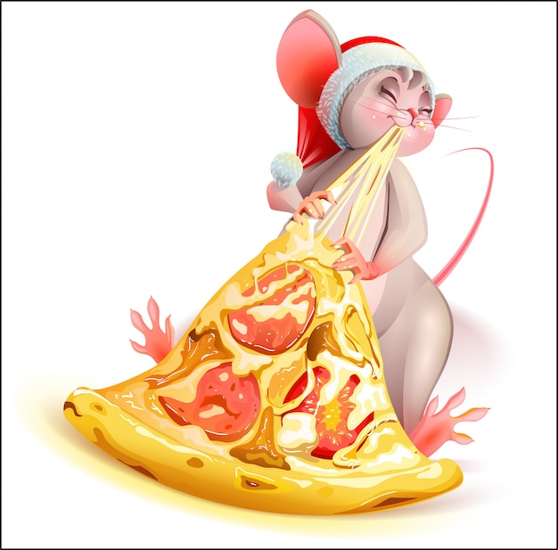 Santa christmas mouse character eating pizza with cheese Premium Vector