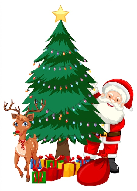 Santa next to christmas tree Free Vector