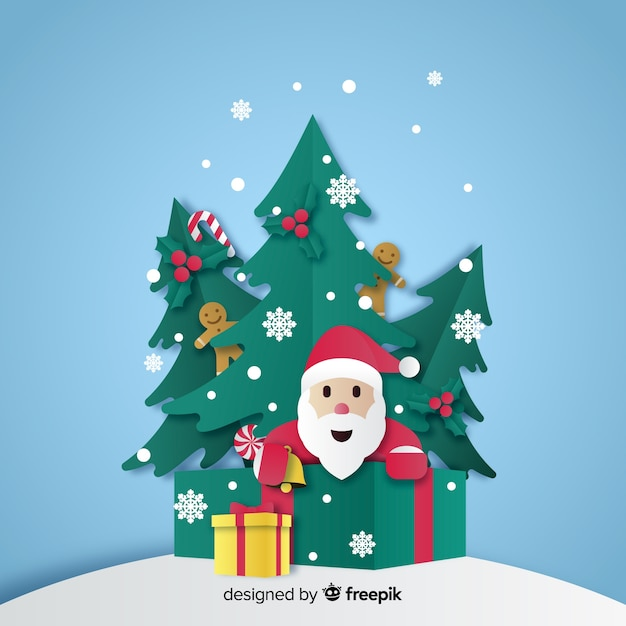 Santa and christmas trees in paper style Free Vector