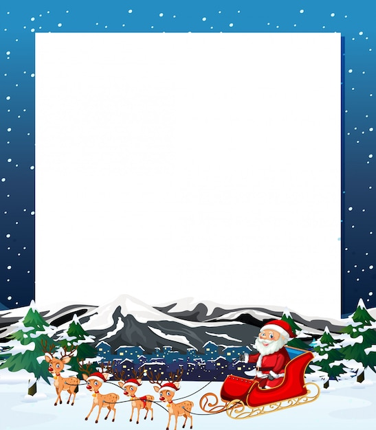 Santa christmas winter blank frame with copyspace Free Vector