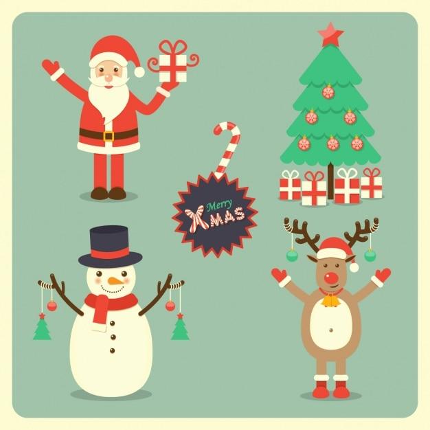 Santa claus, a reindeer, a snowman and a christmas tree ...