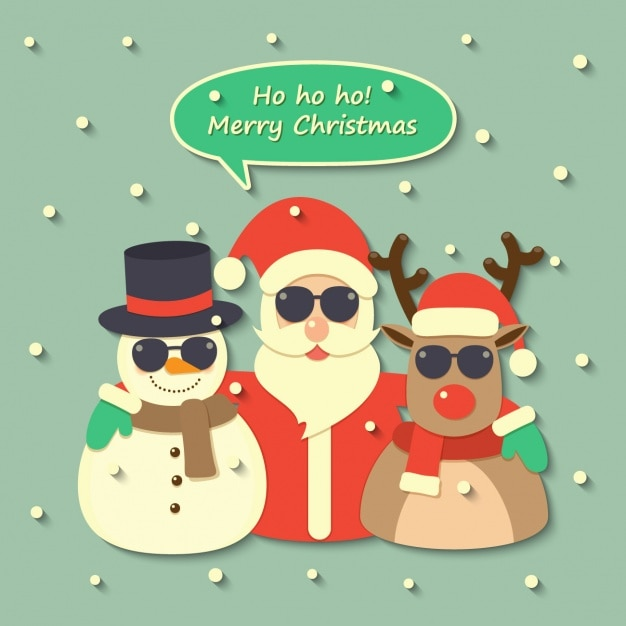Santa claus, a reindeer and a snowman wearing sunglasses Free Vector