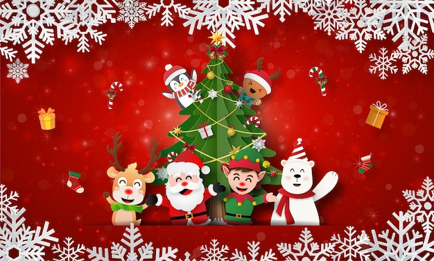 Санта-клаус и друзья с елкой на рождественской открытке Premium векторы
