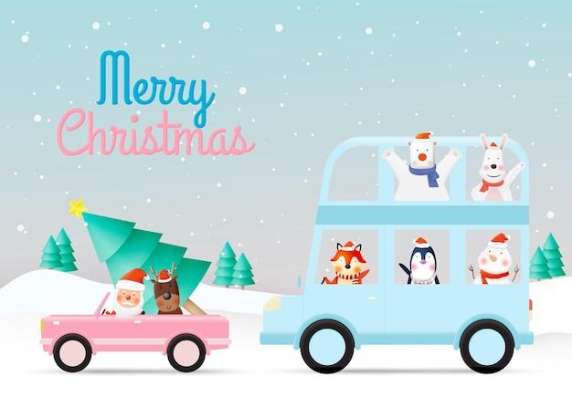 Санта-клаус и банда животных вечеринки с очень милым дизайном персонажей в бумажном искусстве и пастельных тонах Premium векторы