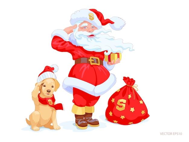 Санта-клаус и щенок золотистого ретривера стоят по очереди и приветствуют. милая маленькая собака в рождественской шапке и красном зимнем шарфе. нарисованные вручную праздничные персонажи готовы выполнить любой заказ. Premium векторы