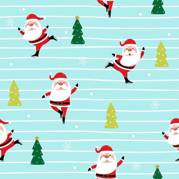 Санта-клаус и катание на коньках бесшовные модели Premium векторы