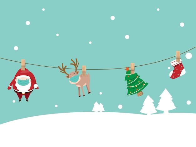Санта-клаус и олень в хирургической маске, висящие на халате с социальным дистанцированием Premium векторы