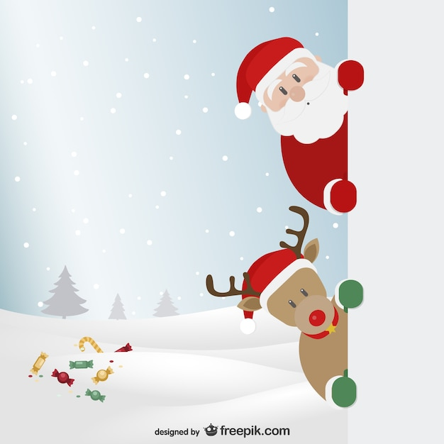 Santa Claus and reindeer with winter landscape Vector ...