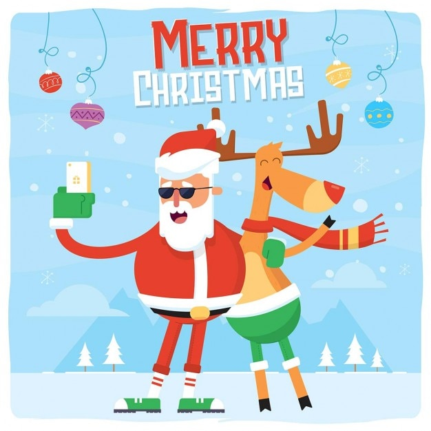 Santa claus and rudolph Vector | Free Download - photo#24
