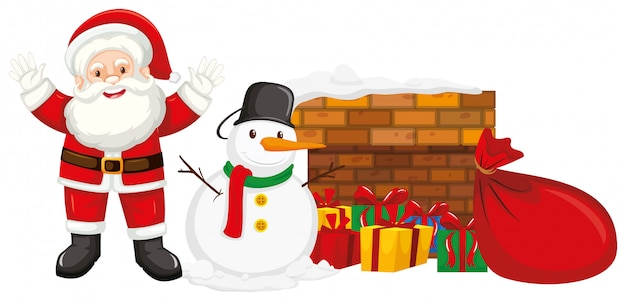 Дед мороз и снеговик у камина Бесплатные векторы