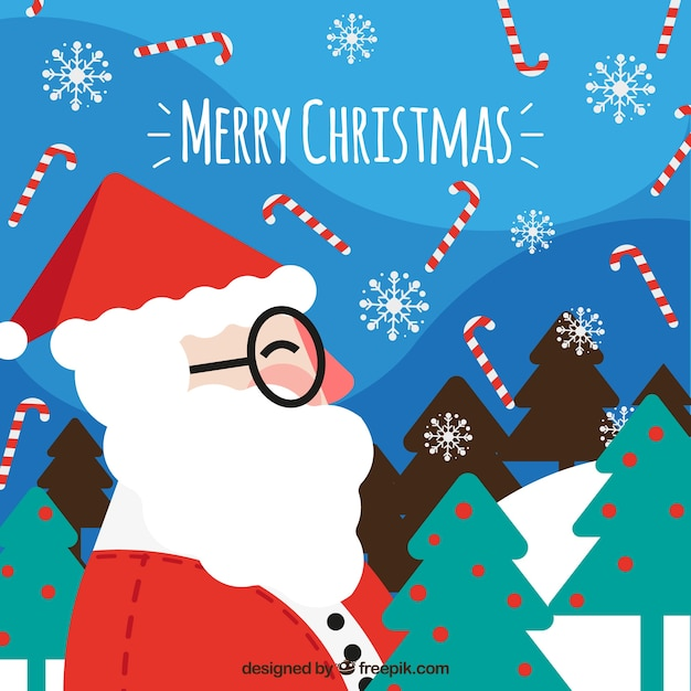 Santa claus background with glasses in flat design