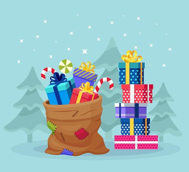 スタック付きのサンタクロースバッグ、ラッピングギフトボックスの山。プレゼントパッケージ、スイーツがいっぱいのクリスマスサック。 Premiumベクター