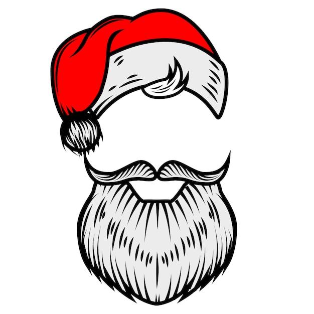 Санта-клаус борода и шляпа. элемент для плаката, карты. иллюстрация Premium векторы