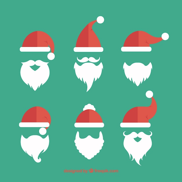 Santa claus beards collection Vector | Free Download