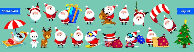 Санта-клаус большая коллекция. симпатичные герои мультфильмов с разными эмоциями и элементами рождества. Premium векторы