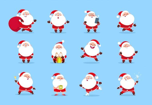 Premium Vector Santa Claus Cartoon Christmas Fun Character Set For Winter Holiday Greeting Card Santa Collection