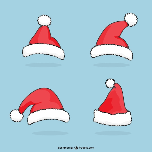 Santa claus cartoon hats vector free download