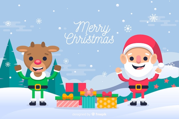 Santa claus celebrating christmas with reindeer Free Vector
