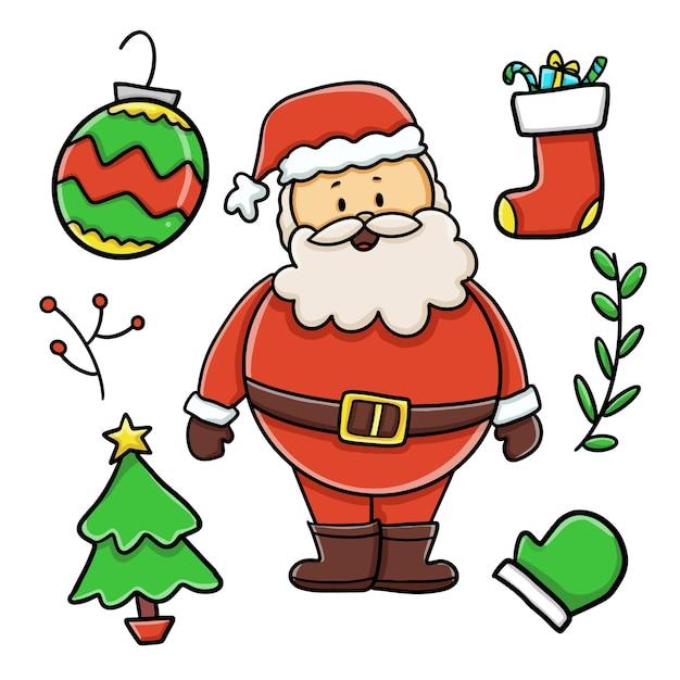 Santa claus character and christmas elements set Free Vector